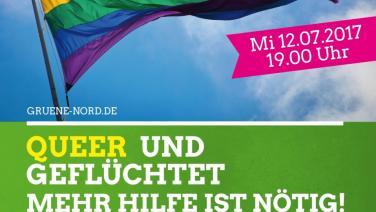 Veranstaltungsplakat Queer und geflüchtet - Mehr Hilfe ist nötig!